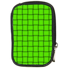 Bright Green Weave Compact Camera Leather Case