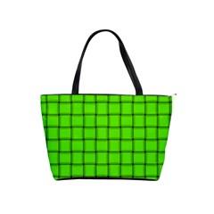 Bright Green Weave Large Shoulder Bag