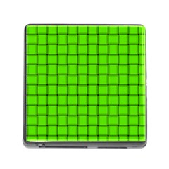 Bright Green Weave Memory Card Reader with Storage (Square)