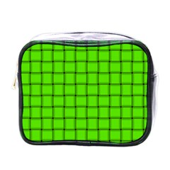 Bright Green Weave Mini Travel Toiletry Bag (One Side)