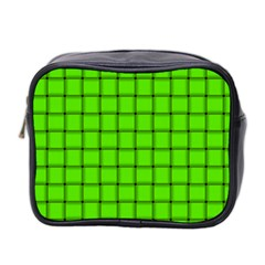 Bright Green Weave Mini Travel Toiletry Bag (Two Sides)