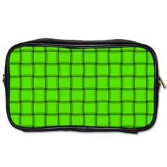 Bright Green Weave Travel Toiletry Bag (two Sides)