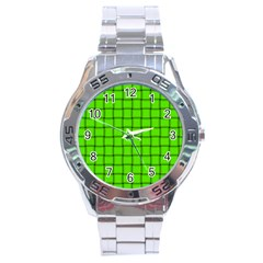 Bright Green Weave Stainless Steel Watch (Men s)