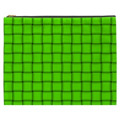 Bright Green Weave Cosmetic Bag (xxxl)