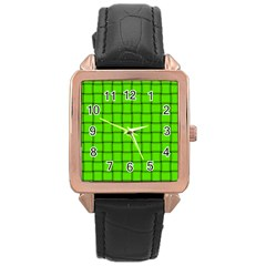 Bright Green Weave Rose Gold Leather Watch