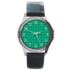 Caribbean Green Weave Round Metal Watch (Silver Rim)