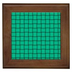 Caribbean Green Weave Framed Ceramic Tile
