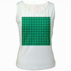 Caribbean Green Weave Womens  Tank Top (White)