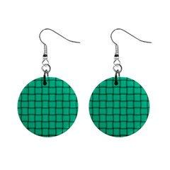 Caribbean Green Weave Mini Button Earrings