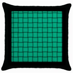 Caribbean Green Weave Black Throw Pillow Case