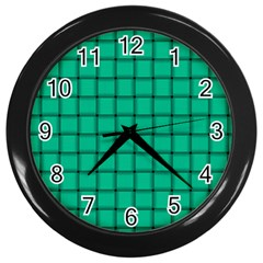 Caribbean Green Weave Wall Clock (black)