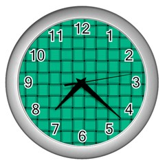 Caribbean Green Weave Wall Clock (Silver)