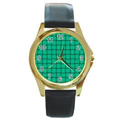 Caribbean Green Weave Round Metal Watch (Gold Rim)