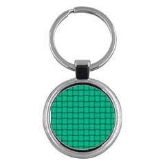 Caribbean Green Weave Key Chain (Round)