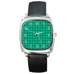 Caribbean Green Weave Square Leather Watch