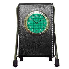 Caribbean Green Weave Stationery Holder Clock