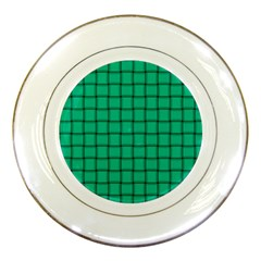 Caribbean Green Weave Porcelain Display Plate