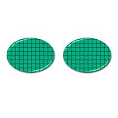 Caribbean Green Weave Cufflinks (Oval)
