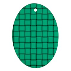 Caribbean Green Weave Oval Ornament (two Sides)