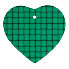 Caribbean Green Weave Heart Ornament (two Sides)