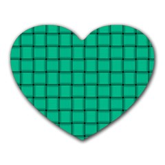 Caribbean Green Weave Mouse Pad (Heart)