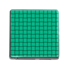 Caribbean Green Weave Memory Card Reader With Storage (square)
