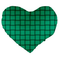 Caribbean Green Weave 19  Premium Heart Shape Cushion