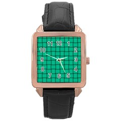 Caribbean Green Weave Rose Gold Leather Watch