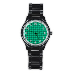 Caribbean Green Weave Sport Metal Watch (Black)