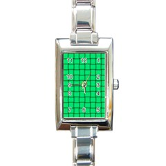 Spring Green Weave Rectangular Italian Charm Watch