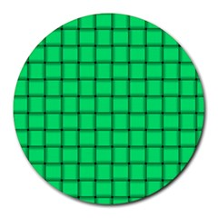 Spring Green Weave 8  Mouse Pad (Round)