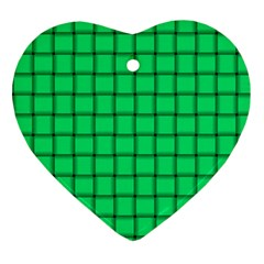 Spring Green Weave Heart Ornament