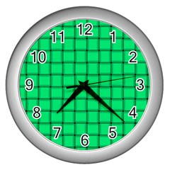 Spring Green Weave Wall Clock (Silver)