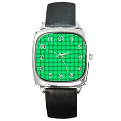 Spring Green Weave Square Leather Watch