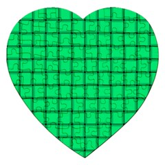Spring Green Weave Jigsaw Puzzle (heart)