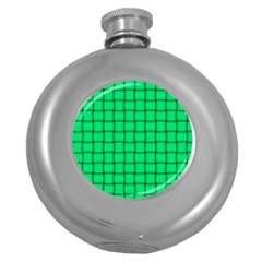 Spring Green Weave Hip Flask (round)