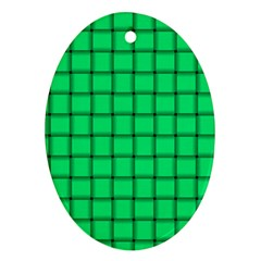 Spring Green Weave Oval Ornament (Two Sides)