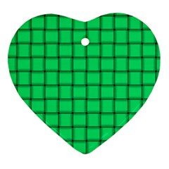 Spring Green Weave Heart Ornament (two Sides)