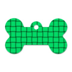 Spring Green Weave Dog Tag Bone (Two Sided)