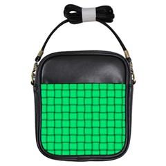 Spring Green Weave Girl s Sling Bag