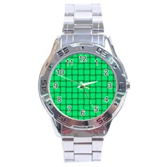 Spring Green Weave Stainless Steel Watch (Men s)