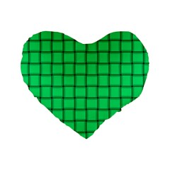 Spring Green Weave 16  Premium Heart Shape Cushion