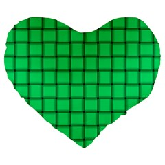 Spring Green Weave 19  Premium Heart Shape Cushion