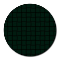 Dark Green Weave 8  Mouse Pad (Round)