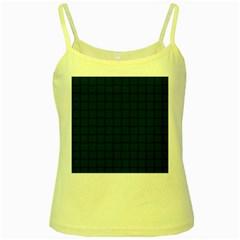 Dark Green Weave Yellow Spaghetti Tank