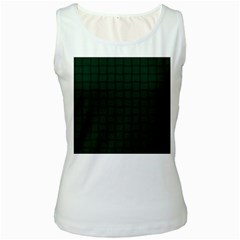 Dark Green Weave Womens  Tank Top (white)