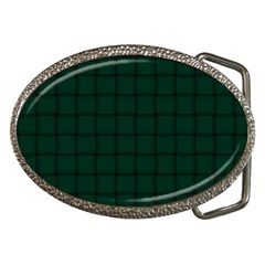 Dark Green Weave Belt Buckle (Oval)