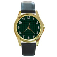 Dark Green Weave Round Metal Watch (Gold Rim)