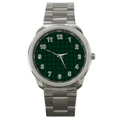 Dark Green Weave Sport Metal Watch