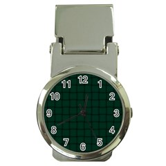 Dark Green Weave Money Clip with Watch